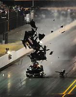 Jul. 16, 2010; Sonoma, CA, USA; NHRA funny car driver Gary Densham blows the body off his car during qualifying for the Fram Autolite Nationals at Infineon Raceway. Mandatory Credit: Mark J. Rebilas-