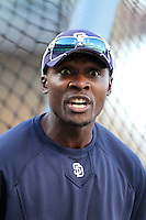 San Diego Padres second baseman Orlando Hudson #1 before a game against the Los Angeles Dodgers at Dodger Stadium on August 30, 2011 in Los Angeles,California. Los Angeles defeated San Diego 8-5.(Larry Goren/Four Seam Images)