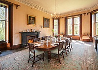 """BNPS.co.uk (01202) 558833. <br /> Pic: KnightFrank/BNPS<br /> <br /> Pictured: Dining room. <br /> <br /> A castle that was burnt down by a pirate, involved in the English Civil War and has been in the same family for five centuries is on the market for offers over £650,000.<br /> <br /> Kilberry Castle, which dates back to the 15th century, has an incredible history and still has a wealth of original features including a 288-year-old mausoleum.<br /> <br /> It sits in 21 acres of land on the Scottish west coast, with stunning views over Kilberry Bay and out to the islands of Islay, Jura and Gigha.<br /> <br /> The four-storey tower house now needs a buyer """"with deep pockets and great imagination"""" to carry out a complete refurbishment but it has a lot of potential."""