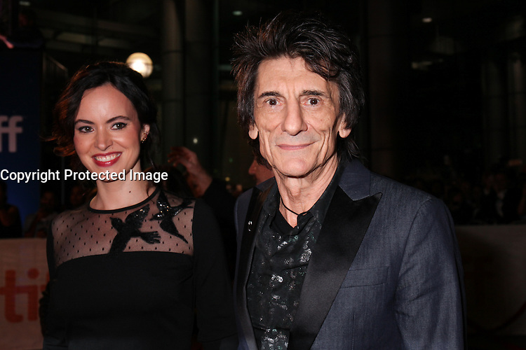 RON WOOD AND HIS WIFE SALLY HUMPHREYS - RED CARPET OF THE FILM 'THE ROLLING STONES OLE OLE OLE! : A TRIP ACROSS LATIN AMERICA' - 41ST TORONTO INTERNATIONAL FILM FESTIVAL 2016 IN TORONTO, 16/09/2016. # FESTIVAL INTERNATIONAL DU FILM DE TORONTO 2016