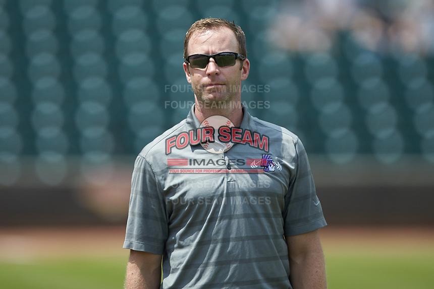 Winston-Salem Dash strength and conditioning coach George Timke prior to the game against the Potomac Nationals at BB&T Ballpark on August 12, 2018 in Winston-Salem, North Carolina. The Rayados defeated the Nationals 6-3. (Brian Westerholt/Four Seam Images)