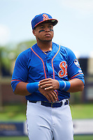 St. Lucie Mets third baseman Jhoan Urena (13) during warmups before a game against the Brevard County Manatees on April 17, 2016 at Tradition Field in Port St. Lucie, Florida.  Brevard County defeated St. Lucie 13-0.  (Mike Janes/Four Seam Images)