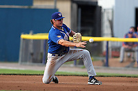 Auburn Doubledays first baseman Shawn Pleffner #18 during a game against the Batavia Muckdogs at Dwyer Stadium on June 18, 2012 in Batavia, New York.  Auburn defeated Batavia 6-5.  (Mike Janes/Four Seam Images)