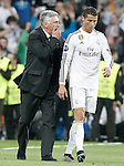 Real Madrid's coach Carlo Ancelotti with Cristiano Ronaldo during Champions League 2014/2015 Quarter-finals 2nd leg match.April 22,2015. (ALTERPHOTOS/Acero)