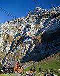 Schweiz, Kanton St. Gallen, Schwaegalp: die Luftseilbahn Schwaegalp–Saentis | Switzerland, Canton St. Gallen, Schwaegalp: aerial cable car 'Schwaegalp–Saentis'