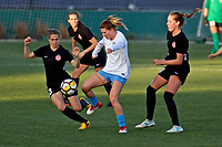 Portland, OR - Sunday March 11, 2018: Arin Gilliland, Celeste Boureille during a National Women's Soccer League (NWSL) pre season match between the Portland Thorns FC and the Chicago Red Stars at Merlo Field.