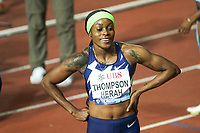 26th August 2021; Lausanne, Switzerland;  Elaine Thompson-Herah after finishing second in the womens 100m during Diamond League athletics meeting  at La Pontaise Olympic Stadium in Lausanne, Switzerland.