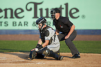 Fayetteville Woodpeckers catcher Michael Papierski (28) drops to block a low pitch as home plate umpire Steven Jaschinski looks on during the Carolina League game against the Wilmington Blue Rocks at Frawley Stadium on June 6, 2019 in Wilmington, Delaware. The Woodpeckers defeated the Blue Rocks 8-1. (Brian Westerholt/Four Seam Images)