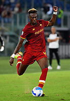 Calcio, Serie A: AS Roma vs Udinese, Olympic stadium, September 23, 2021.<br /> Roma's Tammy Abraham in action during the Italian Serie A football match between Roma and Udinese at Rome's Olympic stadium, on September 23, 2021.<br /> UPDATE IMAGES PRESS/Isabella  Bonotto