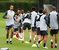 14th September 2021: The  AXA Training Centre , Kirkby, Knowsley, Merseyside, England: Liverpool FC training ahead of Champions League game versus AC Milan on 15th September: Joel Matip of Liverpool warms up with his team mates
