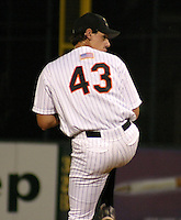 August 20, 2003:  Adrian Burnside of the Erie Seawolves, Class-AA affiliate of the Detroit Tigers, during a Eastern League game at Jerry Uht Park in Erie, PA.  Photo by:  Mike Janes/Four Seam Images