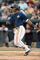 Shortstop Luis Carpio (18) of the Columbia Fireflies bats in a game against  the Charleston RiverDogs on Friday, June 9, 2017, at Spirit Communications Park in Columbia, South Carolina. Columbia won, 3-1. (Tom Priddy/Four Seam Images)