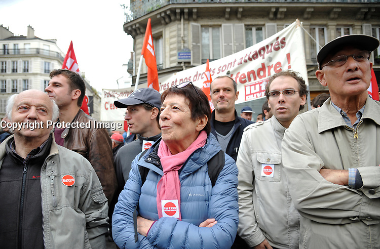 October 10 2017, Paris, France. Demonstration against the Labor Law.<br /> Arlette Laguiller ex leader of extrÍme gauche was present. # MANIFESTATION CONTRE LA LOI TRAVAIL