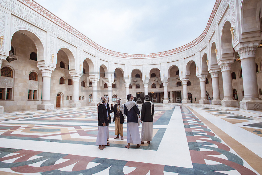 The Grand Saleh mosque, Sana'a. Inaugurated in November 2008, it can hold up to 40,000 worshippers and cost nearly 60 million US dollars to build despite Yemen being the Arab world's poorest nation.