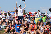 Fans celebrate the first goal of the US as they watch the finals of the 2011 FIFA Women's World Cup prior to a Women's Professional Soccer (WPS) match between Sky Blue FC and the Western New York Flash at Yurcak Field in Piscataway, NJ, on July 17, 2011.