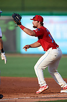 Clearwater Threshers designated hitter Austin Listi (34) stretches for a throw during a game against the Florida Fire Frogs on June 1, 2018 at Spectrum Field in Clearwater, Florida.  Florida defeated Clearwater 12-10.  (Mike Janes/Four Seam Images)