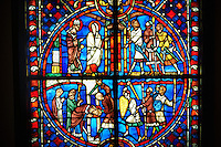 Stained glass windows depicting scenes from the life of Saint Nicaise, made in the first quarter of the 13th century from a chapel in the Cathedral of Soissons, France. The stained glass depicts Saint Nicaise arriving in Rheims and  his martyrdom .  Inv OA 6006,  The Louvre Museum, Paris.