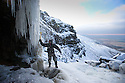"""20/01/16<br /> <br /> Only 160 miles, as the crow flies from central London, Will Flanagan (36), explores the stunning icicles at Kinder Downfall near Hayfield in the Derbyshire Peak district today. After days of cold sub-zero temperatures the 100 ft waterfall finally froze over last night.<br /> <br /> Will said: """"I had to set off at dawn to to get up here. I've been watching the overnight temperatures and thought there's be a chance it would be frozen today. <br /> <br /> """"As the sun began to rise the ice started to melt. I could here it cracking beneath my feet and I saw a few giant icicles crash down. So I didn't stay up there very long!<br /> <br /> """"I definitely wouldn't have wanted to climb any higher up it today even if I'd had ropes with me - the ice wouldn't have been strong enough to support me. If I'd have arrived any later I wouldn't have risked going all the way up. <br /> <br /> """"But all the same it was an awesome spectacle and one of the most extreme walks I've ever done.""""<br /> <br /> The waterfall flows from Kinder Scout the only mountain in the Derbyshire Peak District between Hayfield and Edale. <br /> <br /> <br /> All Rights Reserved: F Stop Press Ltd. +44(0)1335 418365   www.fstoppress.com."""