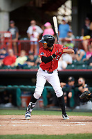 Erie SeaWolves second baseman Harold Castro (3) at bat during a game against the Akron RubberDucks on August 27, 2017 at UPMC Park in Erie, Pennsylvania.  Akron defeated Erie 6-4.  (Mike Janes/Four Seam Images)