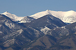 Snow covered peaks on the Bridger Mountains in Bozeman Montana.