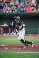 Great Falls Voyagers designated hitter Maiker Feliz (7) starts down the first base line during a Pioneer League game against the Idaho Falls Chukars at Melaleuca Field on August 18, 2018 in Idaho Falls, Idaho. The Idaho Falls Chukars defeated the Great Falls Voyagers by a score of 6-5. (Zachary Lucy/Four Seam Images)