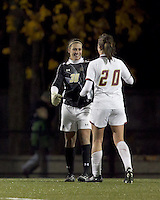 """Boston College goalkeeper Jillian Mastroianni (30) celebrates victory and shut out with  Boston College midfielder Zoe Lombard (20). Boston College defeated West Virginia, 4-0, in NCAA tournament """"Sweet 16"""" match at Newton Soccer Field, Newton, MA."""