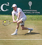 JP Smith (AUS) loses to Raj-Ram (USA) 6-4, 7-6 at the Tennis Hall of Fame Championships in Newport, Rhode Island on July 18, 2015.