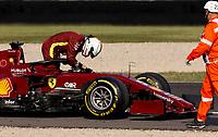 11th September 2020; Mugello race track, Scarperia e San Piero, Tuscany, Italy ; Formula 1 Grand Prix of Tuscany, Free practise;  5 Sebastian Vettel GER, Scuderia Ferrari Mission Winnow breaks down with engine trouble on course