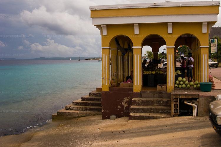 Kralendijk, Bonaire, Netherland Antilles -- The city farmers' market sits right at the seawall in the center of Kralendijk.