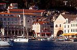 Croatia, Dalmatian Islands, Havar, 17th century Venetian architecture dominates the medieval port town of Hvar, Hvar Island,   Damatian Coast, Adriatic Sea, Europe,.