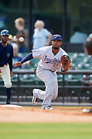 Pensacola Blue Wahoos first baseman Angelo Gumbs (24) waits to receive a throw during a game against the Mobile BayBears on April 26, 2017 at Hank Aaron Stadium in Mobile, Alabama.  Pensacola defeated Mobile 5-3.  (Mike Janes/Four Seam Images)