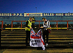 York City 2 Spennymoor Town 2, 20/01/2018. Bootham Crescent, National League North. A steward helps a Spennymoor fan to take his flag down after the game.  Photo by Paul Thompson.