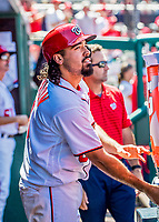 9 July 2017: Washington Nationals third baseman Anthony Rendon hydrates in the dugout after coming home to score against the Atlanta Braves at Nationals Park in Washington, DC. The Nationals defeated the Atlanta Braves to split their 4-game series going into the All-Star break. Mandatory Credit: Ed Wolfstein Photo *** RAW (NEF) Image File Available ***