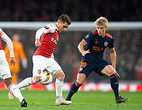 Arsenal's Lucas Torreira and Valencia Daniel Wass during the UEFA Europa League Semi-Final 1st leg match between Arsenal and Valencia at the Emirates Stadium, London, England on 2 May 2019. Photo by Andrew Aleksiejczuk / PRiME Media Images.