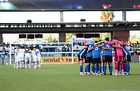 SAN JOSE, CA - MAY 15: San Jose Earthquakes starting eleven huddle during a game between Portland Timbers and San Jose Earthquakes at PayPal Park on May 15, 2021 in San Jose, California.