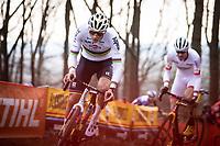 later winner Mathieu Van der Poel (NED/Alpecin Fenix) and Toon Aerts (BEL/Trek Baloise Lions)<br /> <br /> Men Elite Race<br /> UCI Cyclocross Worldcup – Hoogerheide (Netherlands)<br /> <br /> ©kramon