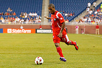 Panama defender Luis Henríquez (17) dribbles the ball during the CONCACAF soccer match between Panama and Guadeloupe at Ford Field Detroit, Michigan.