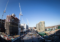 General view of supporters arriving around building work during the Carabao Cup FINAL match between Arsenal and Manchester City at Wembley Stadium, London, England on 25 February 2018. Photo by Andy Rowland.