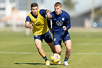 BRADENTON, FL - JANUARY 19: Aaron Herrera, Chris Mueller battle for a ball during a training session at IMG Academy on January 19, 2021 in Bradenton, Florida.