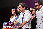 Spanish politician Pablo Iglesias, leader of Unidos Podemos party,during the press conference assessing the results of  the national elections of june 26 in Madrid, Spain. 26,06,2016. (ALTERPHOTOS/Rodrigo Jimenez)