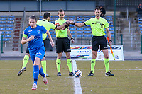 Match referee and assistants give each other a fist bump before a female soccer game between FC Femina White Star Woluwe and KRC Genk on the third matchday of play off 2 in the 2020 - 2021 season of Belgian Scooore Womens Super League , Friday 23 th of April 2021  in Woluwe , Belgium . PHOTO SPORTPIX.BE | SPP | SEVIL OKTEM