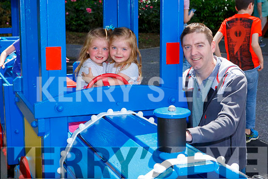 Padraig O'Brien with Aine and Olivia having fun  the Killarney Playground on Monday which reopened after an upgrade over the weekend