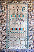 Decorative tiled panels of the Harem in the Topkapi Palace, Istanbul, Turkey