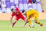 Massimo Luongo of Australia (R) fights for the ball with Mousa Mohammad Suleiman of Jordan (L) during the AFC Asian Cup UAE 2019 Group B match between Australia (AUS) and Jordan (JOR) at Hazza Bin Zayed Stadium on 06 January 2019 in Al Ain, United Arab Emirates. Photo by Marcio Rodrigo Machado / Power Sport Images