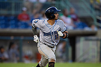 Hudson Valley Renegades Luis Trevino (17) watches a home run as he runs to first base during a NY-Penn League game against the Mahoning Valley Scrappers on July 15, 2019 at Eastwood Field in Niles, Ohio.  Mahoning Valley defeated Hudson Valley 6-5.  (Mike Janes/Four Seam Images)