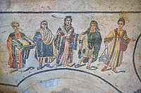 Close up picture of the Roman mosaics of the Trapedoizal Vestibule room, the so called Domina of the Villa, probably Eutropia the wife of Emperor Maximinianus, accompanied by her children, room no 16 at the Villa Romana del Casale, first quarter of the 4th century AD. Sicily, Italy. A UNESCO World Heritage Site.<br /> <br /> The Trapedoizal Vestibule was probably a private entrance to the Villa Romana del Casale. The Roman mosaics of the Trapedoizal Vestibule depicts the Domina (mistress) of the house, wife of Emperor Maximianus, Eutropia at  its centre. To her right if Maxentius and to her left is Fausta