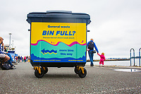 BNPS.co.uk (01202 558833)<br /> Pic: Hubbub/BNPS<br /> <br /> Pictured: A wheely bin in Bournemouth.<br /> <br /> Litter dropped in Britain's most popular seaside resort reduced by 75 per cent this summer thanks to a new project using drone technology. <br /> <br /> The first-of-its kind survey identified alarming litter patterns along Bournemouth beach in Dorset with a staggering 123,000 bits of litter discarded in just one week.<br /> <br /> The data was then used to target the worst areas with strategic bin placement.