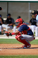 GCL Cardinals catcher Ivan Herrera (32) waits to receive a pitch during a game against the GCL Marlins on August 4, 2018 at Roger Dean Chevrolet Stadium in Jupiter, Florida.  GCL Marlins defeated GCL Cardinals 6-3.  (Mike Janes/Four Seam Images)