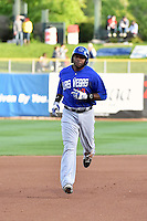 Brandon Allen (40) of the Las Vegas 51s rounds the bases after hitting a home run in action against the Salt Lake Bees at Smith's Ballpark on May 8, 2014 in Salt Lake City, Utah.  (Stephen Smith/Four Seam Images)