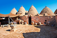 "Pictures of the beehive adobe buildings of Harran, south west Anatolia, Turkey.  Harran was a major ancient city in Upper Mesopotamia whose site is near the modern village of Altınbaşak, Turkey, 24 miles (44 kilometers) southeast of Şanlıurfa. The location is in a district of Şanlıurfa Province that is also named ""Harran"". Harran is famous for its traditional 'beehive' adobe houses, constructed entirely without wood. The design of these makes them cool inside. 22"